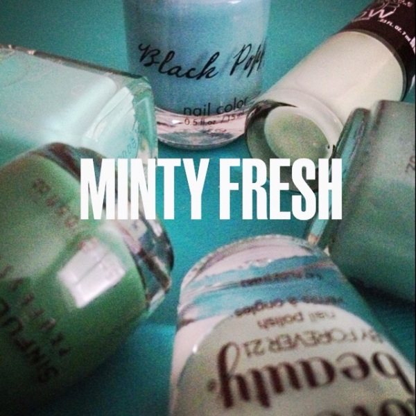 Mint colored nail polish