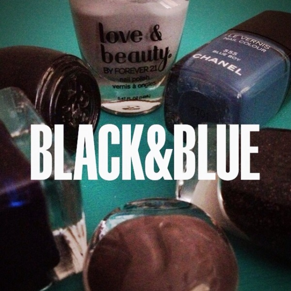 Black and Blue Nail Polish